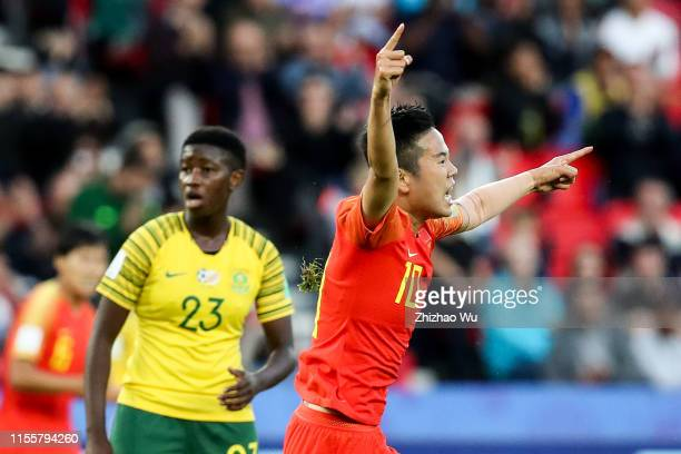 Li Ying of China celebrates her scoring during the 2019 FIFA Women's World Cup France group B match between South Africa and China PR at Parc des...