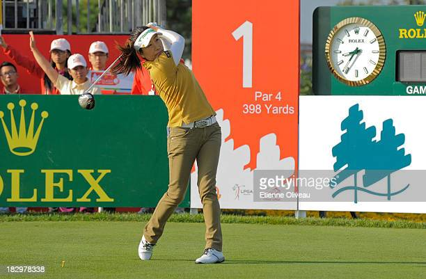 Li Ying Ye of China tees off on the first hole during the first round of the Reignwood LPGA Classic at Pine Valley Golf Club on October 3 2013 in...