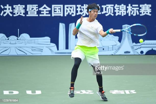 Li Yuanfeng of China in action during the Men's singles first round against Zhang Zhizhen of China on day 2 of the 2020 CTA Tour 800 1000 Finals...