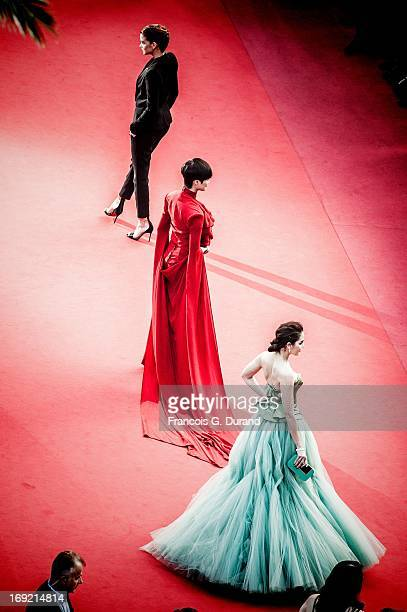 Li Yuchun Araya A Hargate and Barbara Palvin attend the 'Cleopatra' premiere during The 66th Annual Cannes Film Festival at The 60th Anniversary...