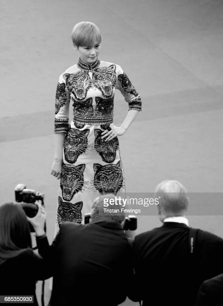 Li Yuchun attends the 'Okja' premiere during the 70th annual Cannes Film Festival at Palais des Festivals on May 19 2017 in Cannes France