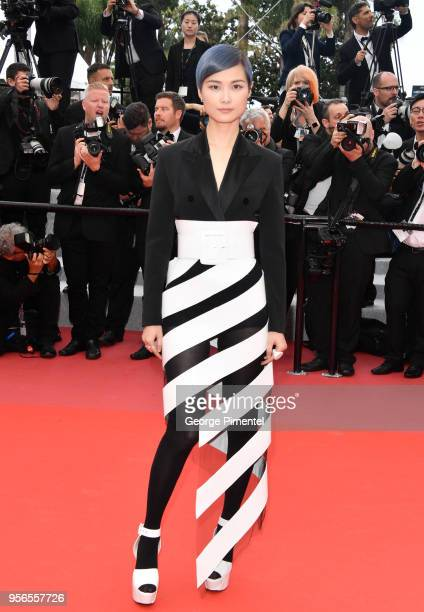 Li Yuchun attends the screening of Yomeddine during the 71st annual Cannes Film Festival at Palais des Festivals on May 9 2018 in Cannes France