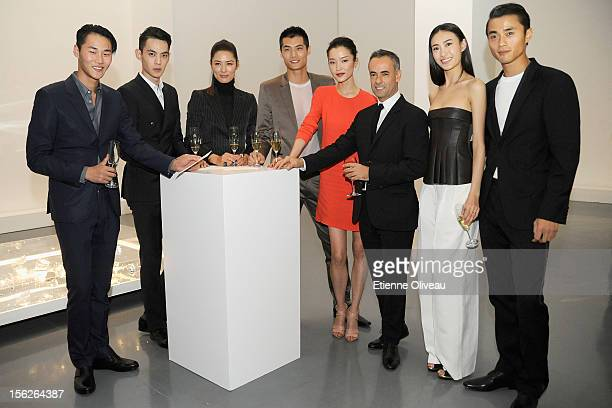 Li Zhen Tang Xiao Tian Ma Tan Li Hao Yun Xiang Du Juan Francisco Costa Qin Shu Pei and Zhao Lei attend the Calvin Klein special dinner at the Long...