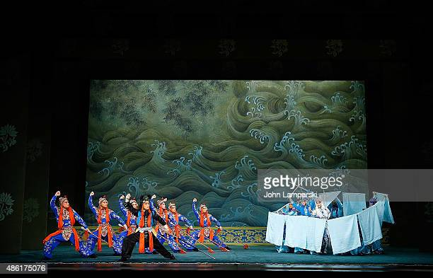 Li Zheng Xu Chang and Zhang Huoding of the Peking Opera performs during Legend Of The White Snake and The Jewelry Purse Preview at David H Koch...