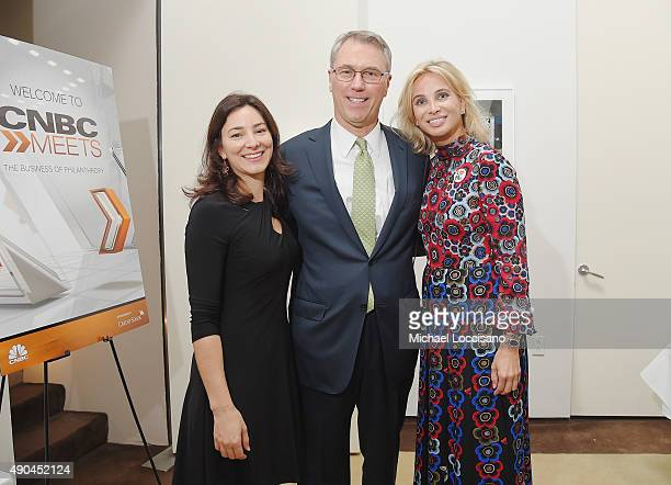 Lia Daniels and Brad Weston of Credit Suisse and Corinna SaynWittgenstein attend the CNBC panel at The Core Club on September 27 2015 in New York City