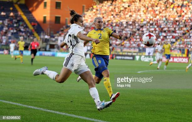 Lia Maguli of Germany and Jonna Andersson of Sweden compete for the ball during the Group B match between Germany and Sweden during the UEFA Women's...