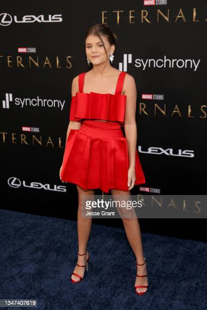 Lia McHugh arrives at the Premiere of Marvel Studios' Eternals on October 18, 2021 in Hollywood, California.