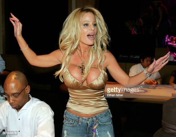 Lia Neil wife of Motley Crue singer Vince Neil reacts after winning a large pot during the inaugural Vince Neil Off the Strip Texas Hold 'Em Poker...