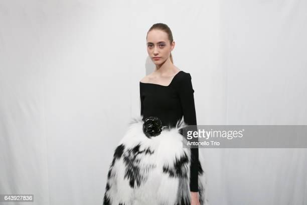 Lia Pavlova poses backstage at Oscar De La Renta Fall/Winter 2017 Show during New York Fashion Week on February 13 2017 in New York City