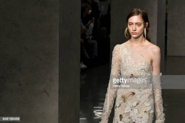 Lia Pavlova walks at the Zimmermann Ready to Wear fashion show during New York Fashion Week Fall Winter 20172018 on February 13 2017 in New York City