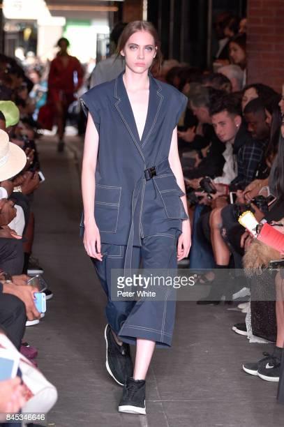 Lia Pavlova walks the runway at Public School show during New York Fashion Week on September 10 2017 in New York City