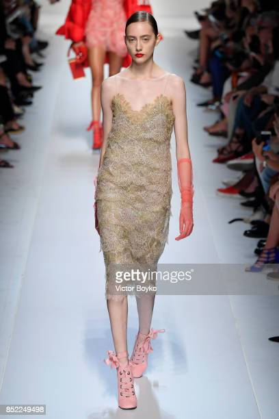 Lia Pavlova walks the runway at the Ermanno Scervino show during Milan Fashion Week Spring/Summer 2018 on September 23 2017 in Milan Italy