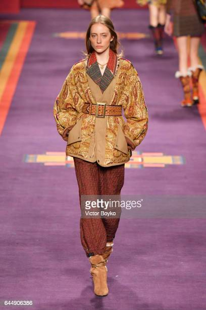 Lia Pavlova walks the runway at the Etro show during Milan Fashion Week Fall/Winter 2017/18 on February 24 2017 in Milan Italy