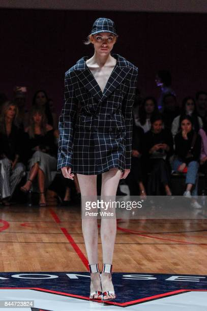 Lia Pavlova walks the runway at the Monse fashion show during New York Fashion Week The Shows on September 8 2017 in New York City