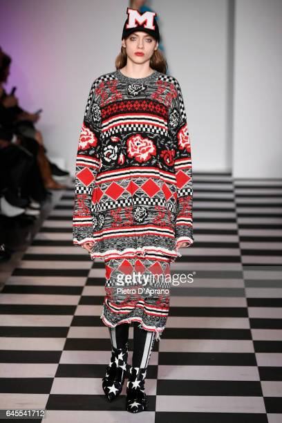 Lia Pavlova walks the runway at the MSGM show during Milan Fashion Week Fall/Winter 2017/18 on February 26 2017 in Milan Italy