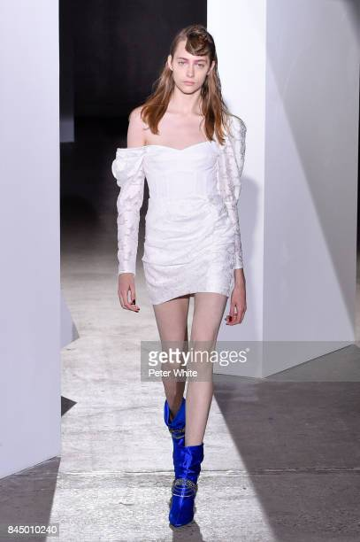 Lia Pavlova walks the runway at the SelfPortrait Spring Summer 2018 Front Row during New York Fashion Week on September 9 2017 in New York City