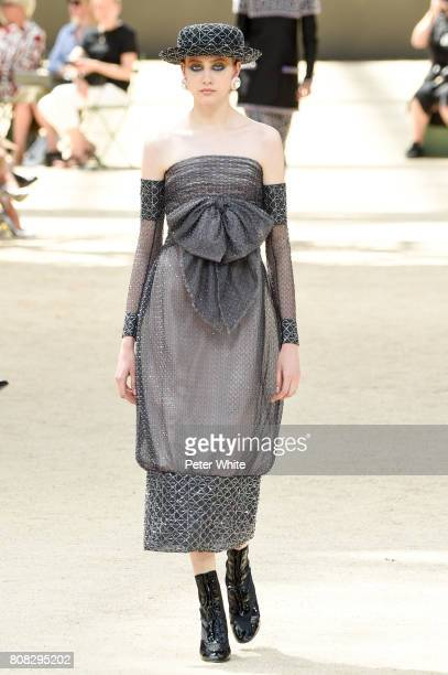 Lia Pavlova walks the runway during the Chanel Haute Couture Fall/Winter 20172018 show as part of Haute Couture Paris Fashion Week on July 4 2017 in...