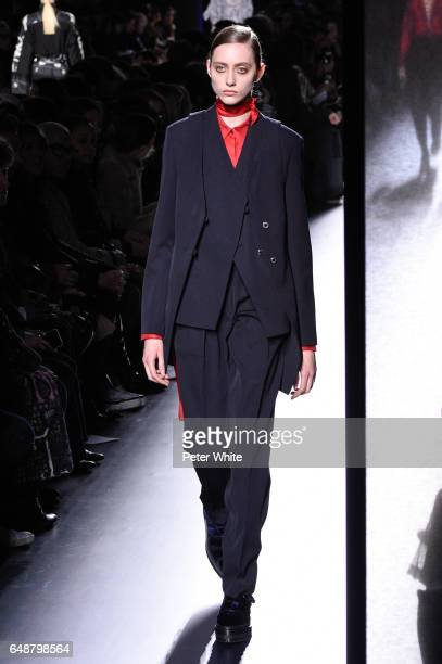 Lia Pavlova walks the runway during the Hermes show as part of the Paris Fashion Week Womenswear Fall/Winter 2017/2018 on March 6 2017 in Paris France