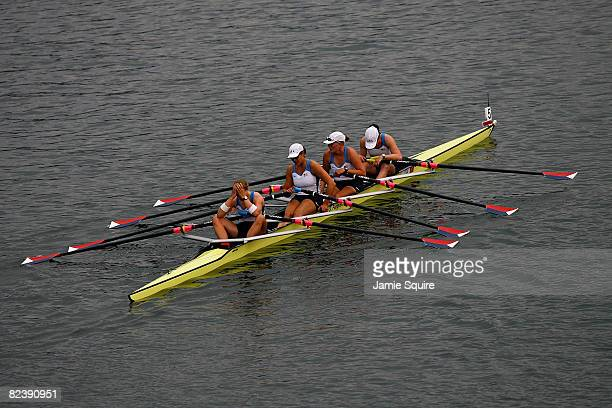 Lia Pernell, Lindsay Meyer, Jen Kaido and Margot Shumway of the United States are pictured after the Women's Quadruple Sculls Final at the Shunyi...