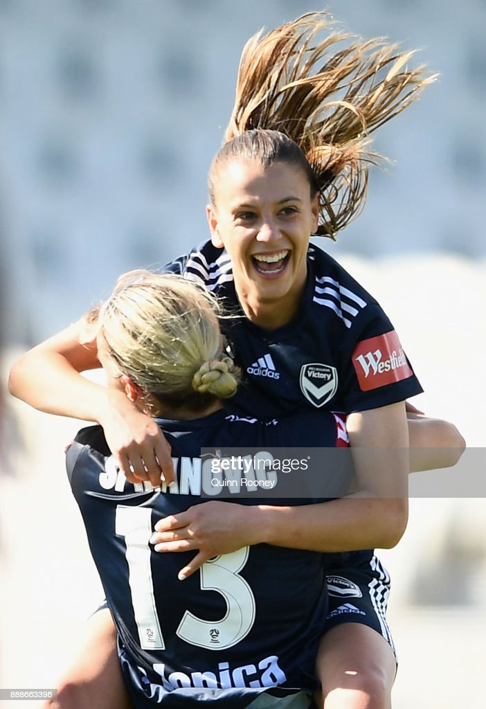Lia Privitelli of the Victory celebrates scoring a goal during the round seven W-League match between the Melbourne Victory and Adelaide United at Lakeside Stadium on December 9, 2017 in Melbourne, Australia.