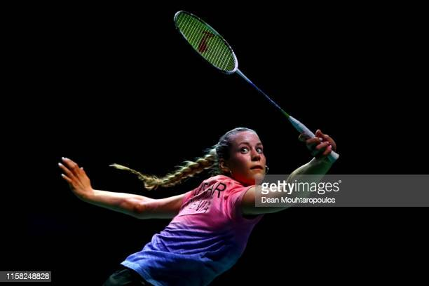 Lia Salehar of Slovenia competes against Sabrina Jaquet of Switzerland in the Women's Singles Group Stage Badminton match during the 2nd European...