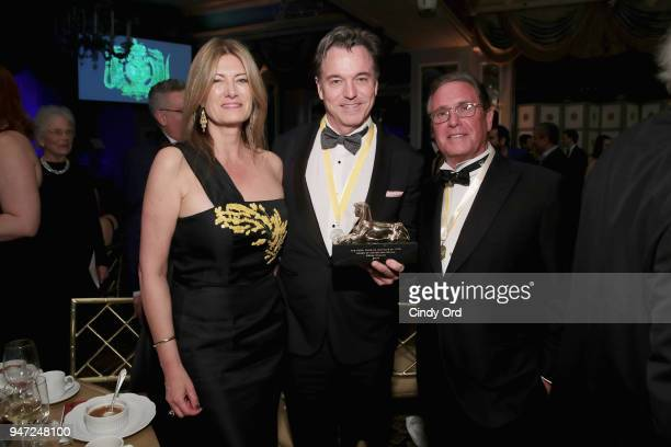 Lia Vollack Derek McLane and Andrew Farkas attend as the Hasty Pudding Institute awards Derek McLane with the Order of the Golden Sphinx at The...