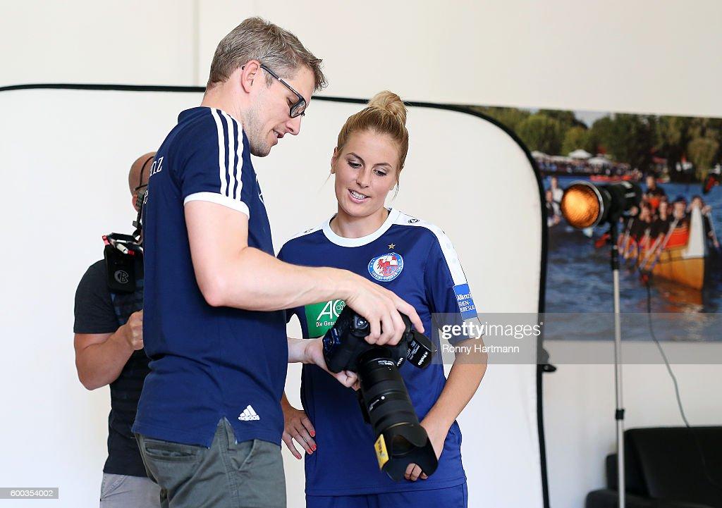 Lia Waelti (R) of Potsdam during the Allianz Women's Bundesliga Club Tour on September 7, 2016 in Potsdam, Germany.