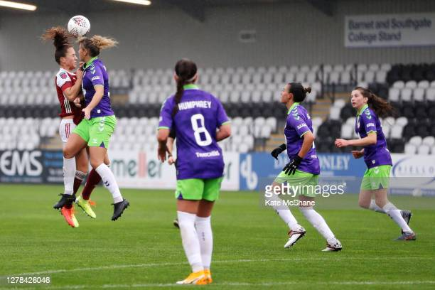 Lia Walti of Arsenal FC collides with Benedicte Haland of Bristol City in the air during the Barclays FA Women's Super League match between Arsenal...