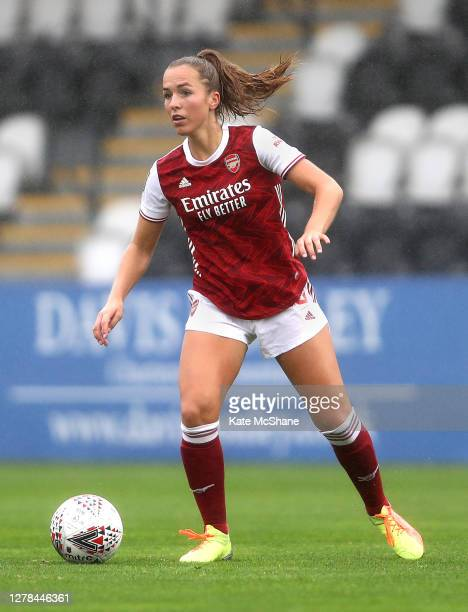 Lia Walti of Arsenal FC runs with the ball during the Barclays FA Women's Super League match between Arsenal and Bristol City at Meadow Park on...