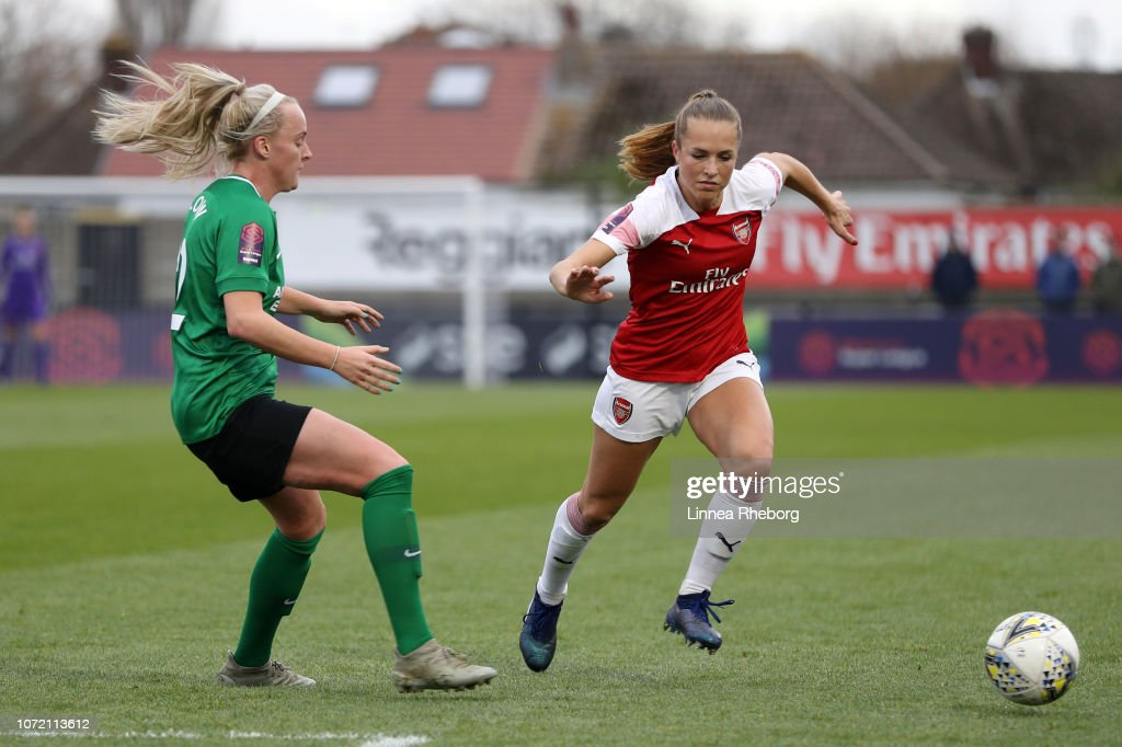 Lia Walti Of Arsenal Is Challanged By Chloe Peplow Of