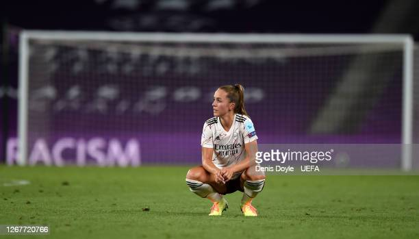 Lia Walti of Arsenal looks dejected following her team's defeat in the UEFA Women's Champions League Quarter Final between Arsenal FC Women and Paris...