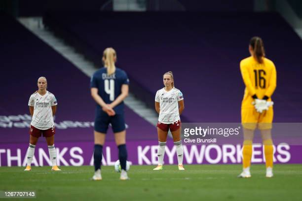 Lia Walti of Arsenal looks on during a minute of silence for those who have lost their lives to the COVID19 virus prior to the UEFA Women's Champions...