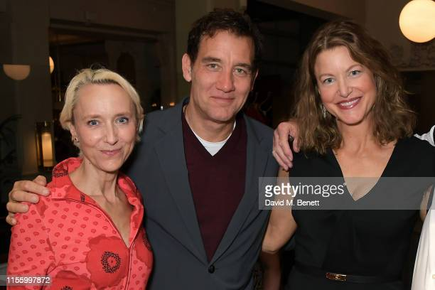 "Lia Williams, Clive Owen and Anna Gunn attend the press night after party for ""The Night Of The Iguana"" at Browns on July 16, 2019 in London, England."