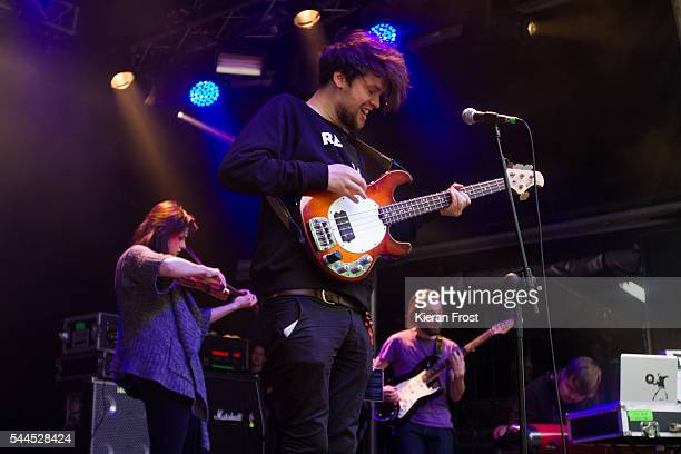Lia Wright, Joe Panama and Stevie Darragh of Overhead, The Albatross performs at CastlePalooza at Charville Castle on July 2, 2016 in Tullamore,...