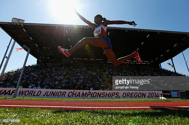 EUGENE OR JULY 26 Liadagmis Povea of Cuba competes in the women's triple jump during day five of the IAAF World Junior Championships at Hayward Field...