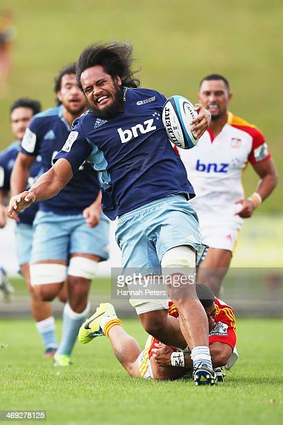 Liaki Moli of the Blues makes a break during the Super Rugby trial match between the Blues and the Chiefs on February 14 2014 in Rotorua New Zealand