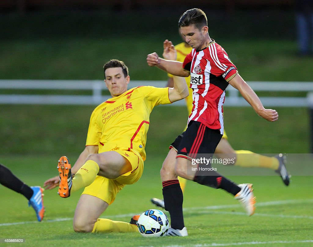 Liam Agnew of Sunderland during the Barclays U21 Premier League match between Sunderland U21 and Liverpool U21 at Eppleton Colliery Welfare ground on August 19, 2014 in Hetton Le Hole, England.