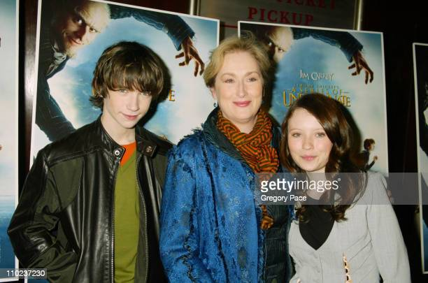Liam Aiken Meryl Streep and Emily Browning during A Special Screening of 'Lemony Snicket's A Series Of Unfortunate Events' Inside Arrivals at...