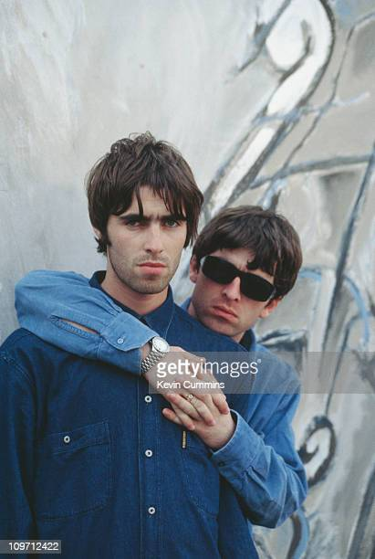 Liam and Noel Gallagher of British pop group Oasis 2nd August 1994