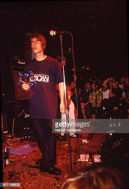 Liam and Noel Gallagher of Oasis perform on stage at Wetlands New York United States 21st July 1994