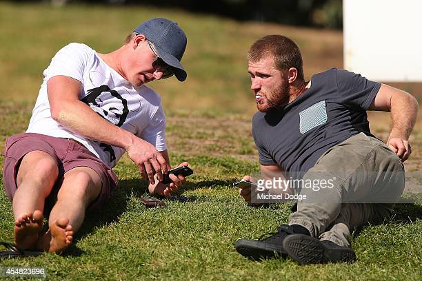 Liam Anthony and Leigh Adams of the Kangaroos look on during the VFL Semi Final match between Williamstown and Werribee at North Port Oval on...