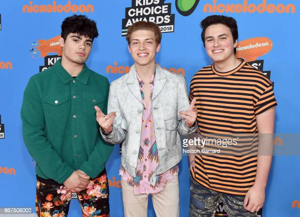 Liam Attridge Emery Kelly and Ricky Garcia attend Nickelodeon's 2018 Kids' Choice Awards at The Forum on March 24 2018 in Inglewood California