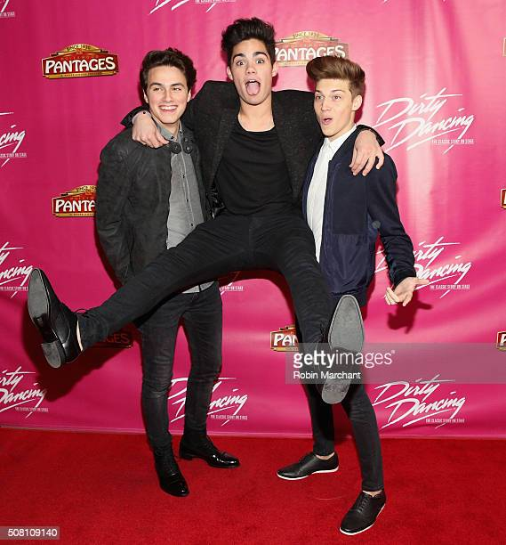 Liam Attridge Emery Kelly and Ricky Garcia of Forever in Your Mind attend Opening Night Of 'Dirty Dancing The Classic Story On Stage' at the Pantages...
