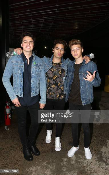 Liam Attridge Emery Kelly and Ricky Garcia of Forever In Your Mind pose backstage during the 2017 BLI Summer Jam at Nikon at Jones Beach Theater on...