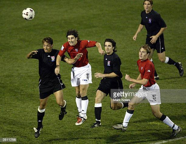 Liam Austin of the Wolves in action during the opening round of the 2003 NSL season between the Wollongong Wolves and Sydney United at WIN Stadium on...