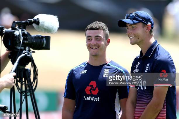 Liam Banks and Will Jacks speak to media in the break after both reaching a century during the ICC U19 Cricket World Cup match between England and...