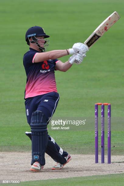 Liam Banks of England U19s hits out during the match between England Under 19s and India U19s at The Spitfire Ground on August 9 2017 in Canterbury...