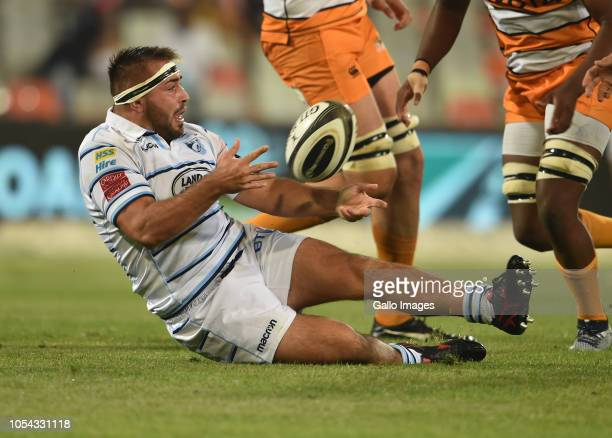 Liam Belcher of Cardiff Blues during the Guinness Pro14 match between Toyota Cheetahs and Cardiff Blues at Toyota Stadium on October 27 2018 in...