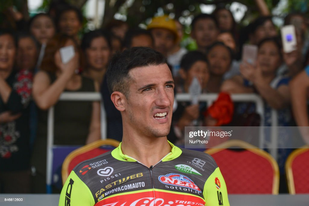 Liam Bertazzo from Willier Triestina team finishes third and keep the Leader Yellow Jersey after the third stage of the 2017 Tour of China 1, the 140.6 km of Pingchang Circuit Race. On Thursday, 14 September 2017, in Pingchang County, Bazhong City, Sichuan Province, China.