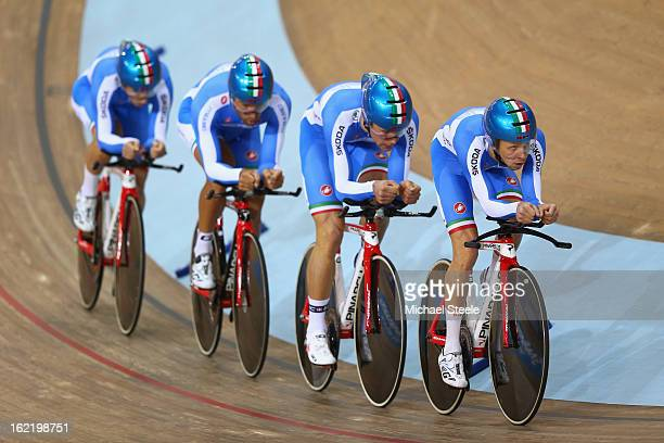 Liam BertazzoMarco ColedanIgnazio Moser and Michele Scartezzini of the Italy men's team pursuit during qualifications on day one of the UCI Track...